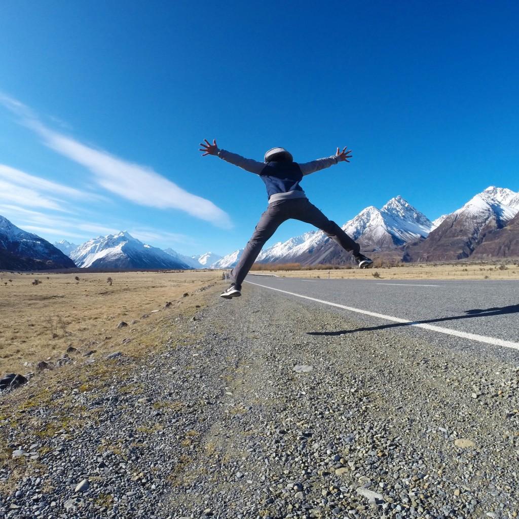 Javier en el Monte Cook de Nueva Zelanda.